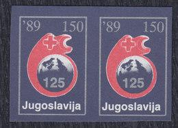 Yugoslavia 1989 Red Cross Surcharge, Imperforated In Pair, MNH (**) Michel 168 - Non Dentelés, épreuves & Variétés
