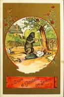 Chromos & Image > Fiches Illustrées Dorées > Animaux > L'Ours Et L'Amateur Des Jardins - Fable De La Fontaine - En TBE - Animali
