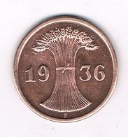 2 PFENNIG 1936 F DUITSLAND /5266/ - [ 4] 1933-1945 : Troisième Reich