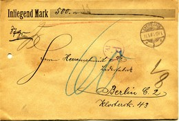 Allemagne - GREIFSWALD   à BERLIN   - ENVELOPPE RECOMMANDEE CHARGE 500 Marcs  - 37 Grs - 1906 - Briefe U. Dokumente
