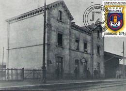 "14.9.2002  -  Gare Gebaut 1891,ofgerappt 1970 - Erausgin Vum Fotoclub ""Flash "" Grevenmacher  Carte Double - Cartes Maximum"