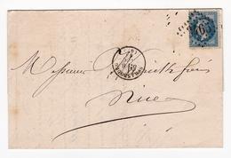 Lettre 1868 Oehmichen Agent De Douane Strasbourg Alsace Chemin De Fer De L'Est Parfumerie Warrick Frères Nice - 1863-1870 Napoleon III With Laurels