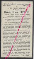 En 1933 Armentières (59) Et Ploegsteert (B) Marguillier  - Henri LEBLEU Ep Hélène BACQUAERT Né En 1859 - Décès