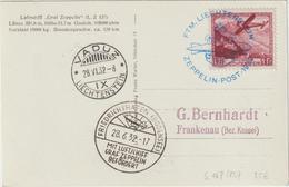 Zeppelin-Karte  Post Liechtenstein Mit Guter Frankatur - Zeppelins