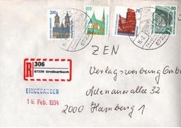 ! 1 Einschreiben  1994 Mit Selbstklebenden  R-Zettel  Aus Großkarlbach, 67229 - R- Und V-Zettel