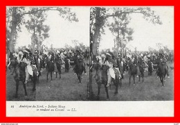 CPA  Amérique Du Nord.  Indiens Sioux Se Rendant Au Conseil. Carte Stéreoscopique...CO1577 - Indiani Dell'America Del Nord