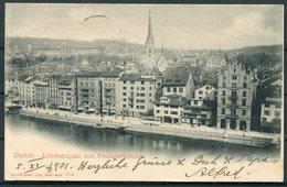 1901 Switzerland Zurich Limmatquai Mit Predigerkirche, Saint Imier Postcard. Zurich - Hotel Marseille France - Cartas