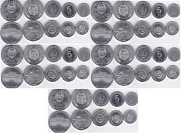 Korea North - 5 Pcs X Set 5 Coins 1 5 10 50 Chon 1 Won 1959 - 1987 AUNC Lemberg-Zp - Korea (Nord-)
