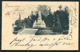 1901 Switzerland Gruss Aus Basel, St Jakobdenkmal Postcard. Ambulant No 21 Railway - Uznach, St Gallen - Storia Postale