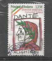 Communaute Italienne D'Andorre (Hommage A Dante Alighieri). Un Timbre Oblitere, 1 Ere Qualite - French Andorra