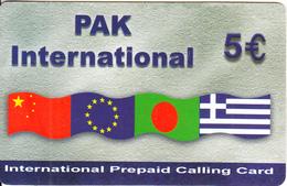 GREECE - Flags, Pak International Prepaid Card 5 Euro(dark Grey, Small CN), Used - Greece