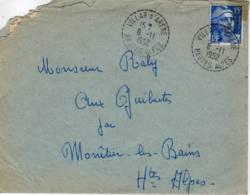 VILLAR D'ARENE Hautes Alpes Cachet B7 1952  Marianne Gandon 15f Outremer (886 I) - 1921-1960: Modern Period