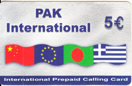 GREECE - Flags, Pak International Prepaid Card 5 Euro(light Grey, Large CN), Used - Greece
