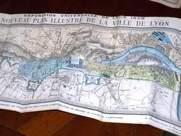 Rare PLAN De LYON Exposition Universelle 1872. Format 57x80 Cm. Gadola Edt. Imp. Litho Gougenheim & Gaud Lyon - Geographical Maps