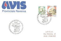 ITALIA - 1989 RAVENNA Gemellaggio Donatori Sangue AVIS E 46^ Brigata Aerea Pisa (aereo, Paracadutista) - Salute