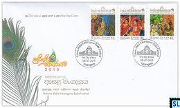 Sri Lanka Stamps 2019, Ruhunu Maha Kataragama Esala Festival, Elephants, Peacocks, Birds, FDC - Sri Lanka (Ceylon) (1948-...)
