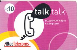 GREECE - Talk Talk, Altec Prepaid Card 10 Euro(glossy Surface), Exp.date 30/06/07, Used - Greece
