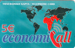 GREECE - EconomiCall, Petroulakis Prepaid Card 5 Euro(thin), Used - Greece