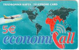 GREECE - Win A Trip To Pakistan, EconomiCall, Petroulakis Prepaid Card 5 Euro, Used - Greece
