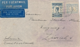 Nederlands Indië - 1934 - 60 Cent Wilhelmina + 5 Cent Op LP-cover Van LB VLIEGVELD ANDIR Naar Zürich / Schweiz - Netherlands Indies