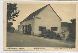 67 HARSKIRCHEN . Agence Peugeot , Garage Et Rest A Herrel , édit : Photo Gerner Sarreguemines , Années 30 , état Extra - France