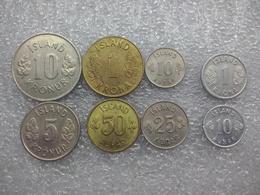 Iceland Older Set : 10 Aurar - 10 Kronur , Including Smaller Aluminium 1 Krona And 10 Aurar - Islandia