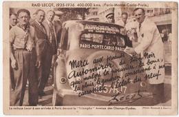 """AUTOMOBILE. RAID LECOT. PARIS-MONTE-CARLO-PARIS. 193561936. PUBLICITE AUTOMIROR Du """" LION NOIR """" - Motorsport"""