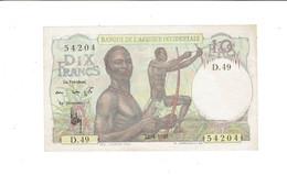 BILLET BANQUE DE L'AFRIQUE OCCIDENTALE - COLONIES FRANCAISES - 10 FRANCS - D.49 54204 - 22 AVRIL 1948 - SUP - Banknotes