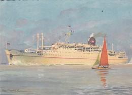 """Cpsm 10X15 . PAQUEBOT Cie Navigation PAQUET Marseille .Le """" LYAUTEY  """" (Illust R.Chapelet ) - Paquebots"""