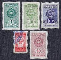 Yugoslavia 5 Revenue Stamps, Used (o) - Jugoslawien