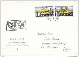 """123 -  30 -  Enveloppe Avec Oblit Spéciale """"Mustermesse Basel 1945"""" - Marcophilie"""