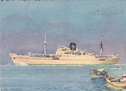 """Cpsm 10X15 . PAQUEBOT Cie Navigation PAQUET Marseille .Le """" AZEMMOUR """" (Illust R.Chapelet ) - Paquebots"""
