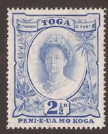 TONGA. 1942. 2½d ULTRAMARINE. RE-CUT VALUE. MULTI SCRIPT CA. MOUNTED MINT. - Tonga (...-1970)