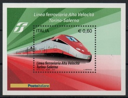 """Italia - Repubblica 2010 """"Completamento Della Linea Ferroviaria Ad Alta Velocità Torino-Salerno"""" Nuovo In Foglietto - Blocchi & Foglietti"""