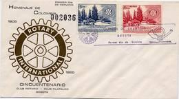 Lote 819-20F, Colombia, 1955, SPD-FDC, 50 Años Del Club Rotario, Rotary Club, Horizontal - Colombia