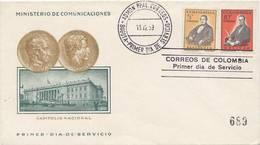 Lote 929-30F, Colombia, 1959, SPD-FDC, Simon Bolivar Y Santander, President - Colombia