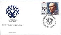 Enveloppe Premier 1er Jour D'emission FDC François Mitterand Nouvelle Calédonie 14 Mars 97 Nouméa Magenta YT 725 - Cartas