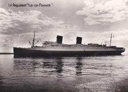 """Cpsm 10X15 PAQUEBOT Cie Gale Transatlantique.  L' """" ILE DE FRANCE  """" Ligne Le Havre-New York - Paquebots"""