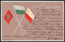 1901 Switzerland Souvenir De Lausanne Embossed Flag Postcard - Uznach - Storia Postale