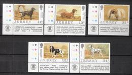 Jersey 1988 100 Years Dog Breeders Association Of Jersey: Labrador, Dachs, Pekingeser, Spaniel Mi 430-434 MNH(**) - Jersey