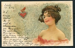 1902 Switzerland Beauty Glamour Love Heart Postcard Zurich Fil. Bahnhof - Uznach - Lettres & Documents