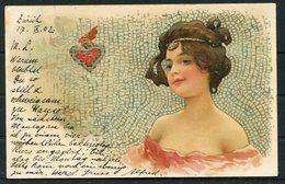 1902 Switzerland Beauty Glamour Love Heart Postcard Zurich Fil. Bahnhof - Uznach - 1882-1906 Armarios, Helvetia De Pie & UPU