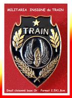 """SUPER PIN'S MILITARIA : De La Série Des Insignes Militaire, Le PIN'S Du """"TRAIN"""" émail Cloisonné Base Or, Format 2,5X1,8c - Militares"""