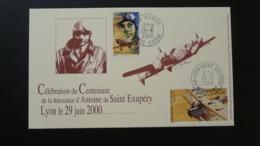 Centenaire Saint Exupéry Carte Maximum Card Poste Aérienne Oblt. Lyon + Borgo Corse 2000 - Maximum Cards