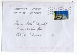 """2019--Lot De 2 Lettres Avec Tps Adhésifs""""Monuments"""" Seuls Sur Lettres --(Périgueux, Nevers) - Marcophilie (Lettres)"""