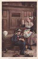 1920'S CPA FOLK DRESSED-  BRETAGNE. LITS CLOS. PAYS DE LEON. ED E.HAMONIC- BLEUP - Costumes
