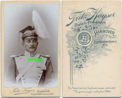 CDV Hartpappefoto, Königs Ulan Tschako Epaulette, UIlanen Regiment 13, Hannover - Krieg, Militär