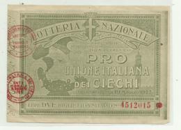 LOTTERIA NAZIONALE PRO UNIONE ITALIANA DEI CIECHI, LIRE DUE, ESTRAZIONE FIRENZE 19 MAGGIO 1927 - Lotterielose