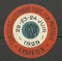 CALVADOS / Concours De Gymnastique Et De Musique / LISIEUX 1929 - Commemorative Labels