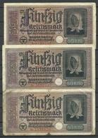 Germany WWII Occupation 1940-1945 Bank Note 50 Reichsmark, 3 Exemplares, Used - Tweede Wereldoorlog
